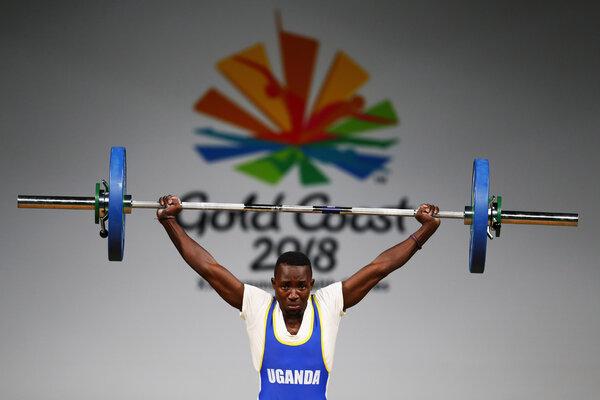 Julius Ssekitoleko competing in Australia in 2018.