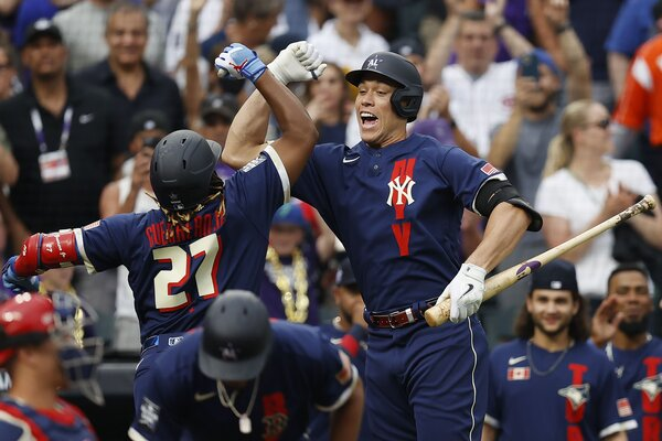 Aaron Judge, the Yankees' star outfielder, celebrating at Tuesday's All-Star Game in Denver.