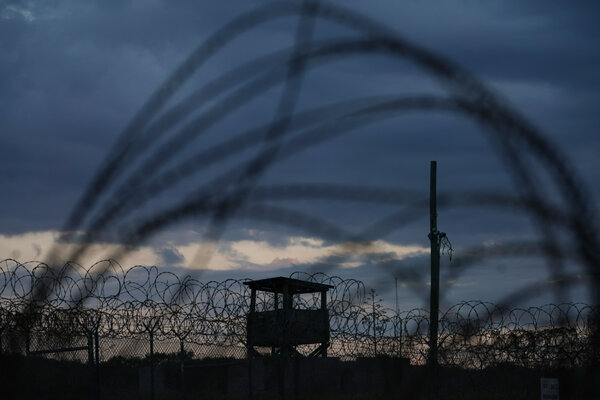 The Pentagon's original lockup, Camp X-Ray, at Guantánamo Bay, Cuba. President Biden and his aides have sought to avoid igniting backlash by working quietly to begin reducing the population at the base's wartime prison again.