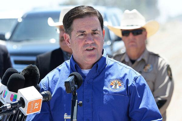 Arizona's governor, Doug Ducey, spoke in Yuma, Ariz., in May.