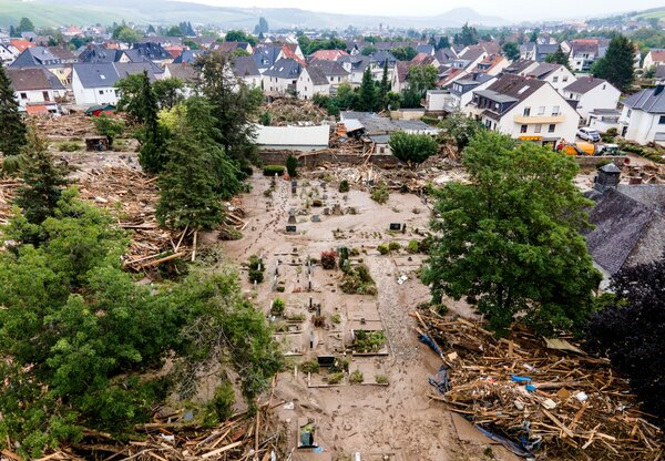 A church and cemetery after flooding in Bad Neuenahr-Ahrweiler, Germany.